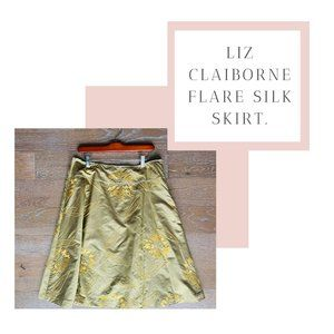 Liz Claiborne Silk Embroidered Skirt | Green & Tan